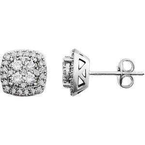 Diamond Halo-Styled Earrings