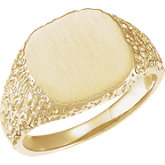 Men's Open Back Signet Ring with Brush Finish