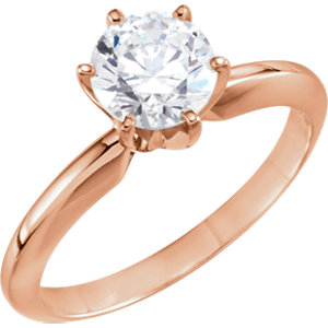 14kt Rose 4-4.1mm Round Solitaire Engagement Ring Mounting