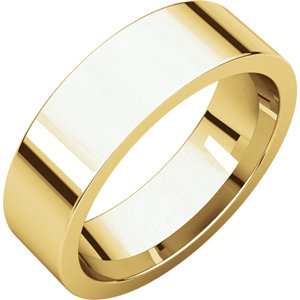 14kt Yellow 6mm Flat Comfort Fit Band