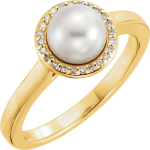 14kt Yellow Freshwater<br> Aultured Pearl & . 6 ATW<br> Diamond Halo-Styled Ring