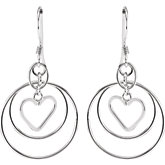 Circles & Heart Dangle Earrings