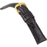 16mm Ladies Short Alligator Grain Padded Black Watch Strap