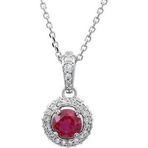 14kt White Ruby & 1/4 ATW<br> Diamond 1