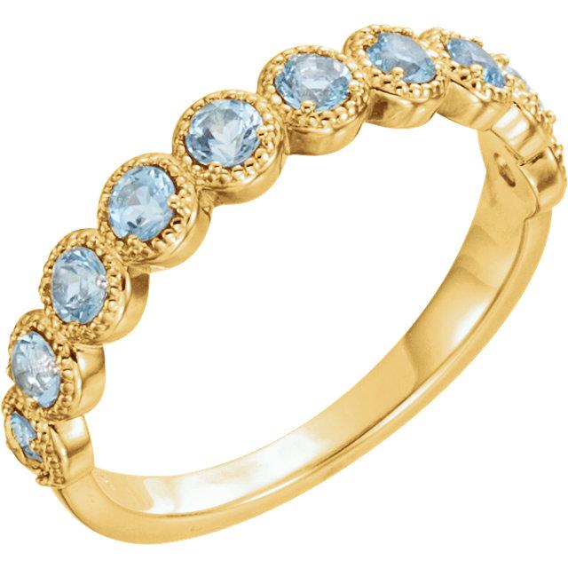 14kt Yellow Aquamarine Beaded Ring