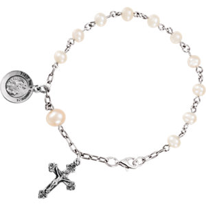 Sterling Silver First Holy Communion Freshwater Cultured Pearl Rosary Bracelet