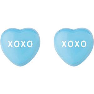 Blue Enamel XOXO Heart Shaped Earrings Ref 85510109