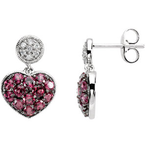 Brazilian Garnet & Diamond Heart Earrings