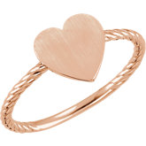 Be Posh® Heart Engravable Rope Design Ring
