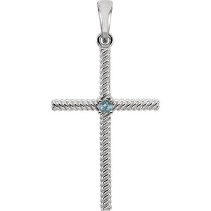 Diamond Cross Rope Design Pendant or Mounting