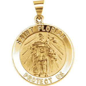 14kt Yellow 21.8mm Round Hollow St. Florian Medal