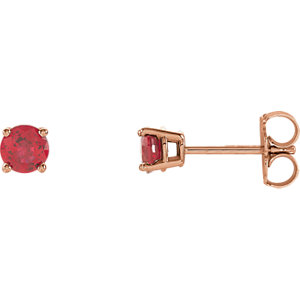 14kt Rose 4mm Round Ruby<br> Earrings