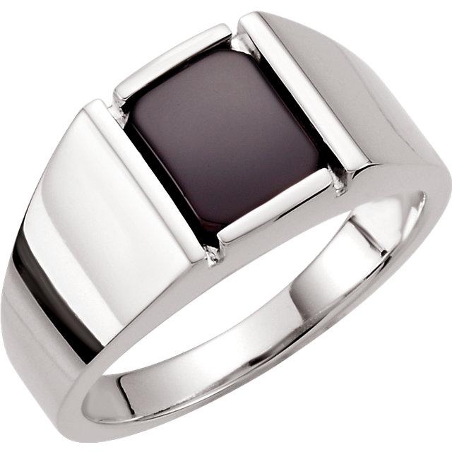 Sterling Silver Men-s Onyx Ring
