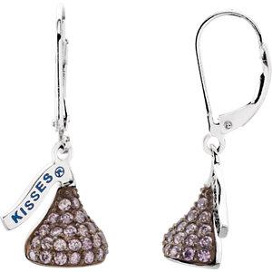 HERSHEY'S KISSES Flat Back Cubic Zirconia Birthstone Lever Back Earrings