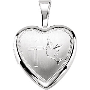 Sterling Silver Cross & Dove Heart Locket