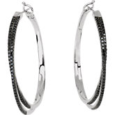 1 7/8 ct tw Black Diamond Hoop Earrings