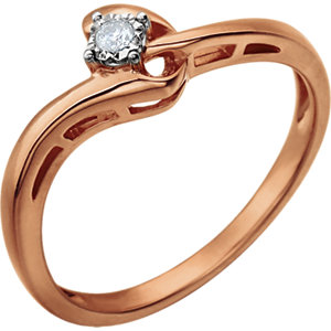 Sterling Silver and Rose Plated .04 CTW Diamond Promise Ring Size 7 Ref 650897
