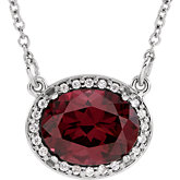 Gemstone & Diamond Halo-Style Necklace, Semi-mount or Mounting