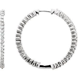 14K White 1 CTW Diamond Inside/Outside Hoop Earrings