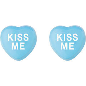 Blue Enamel Kiss Me Heart Shaped Earrings Ref 85510102