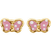Youth Pink Enamel Butterfly Earrings