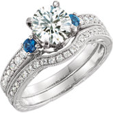 Diamond & Sapphire Semi-mount Engagement Ring or Band