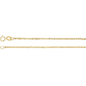 "14K Yellow 1.25mm Sparkle Singapore 7"" Chain"