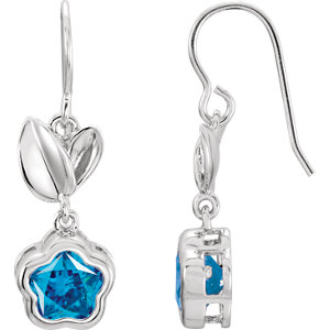 Sterling Silver Blue Cubic Zirconia BFlower™ Earrings with Box