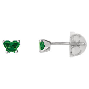 Sterling Silver May Bfly® AZ Birthstone Youth Earrings with Safety Backs & Box