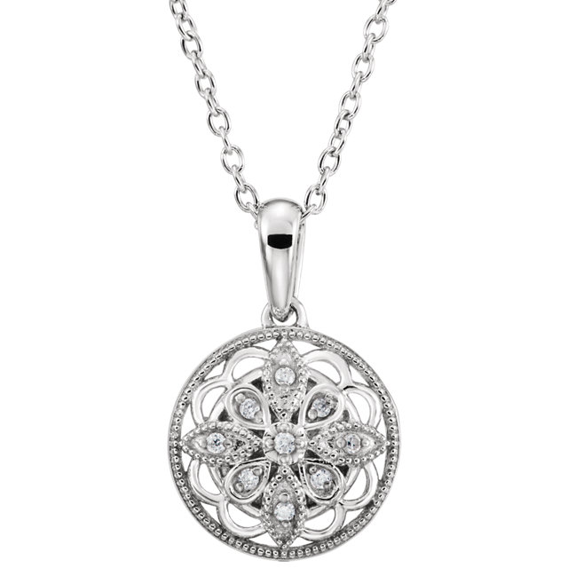 Sterling Silver .05 CTW Diamond 18