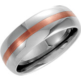 8.3mm Dura Tungsten® Domed Band with 14kt Rose Inlay