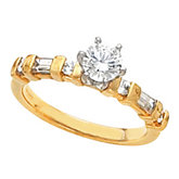 Engagement Ring Base or Band Mounting with Baguette Accents