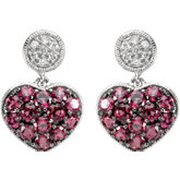 Genuine Brazilian Garnet & Diamond Heart Earrings