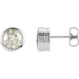 Created Moissanite Bezel Earrings