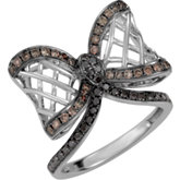 5/8 ct tw Black & Brown Diamond Bow Ring