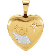 Diamond Heart Angel Locket