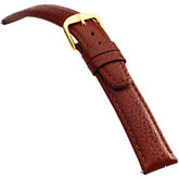 16mm Men's Long Semi-Padded Textured Calf Tan Watch Strap