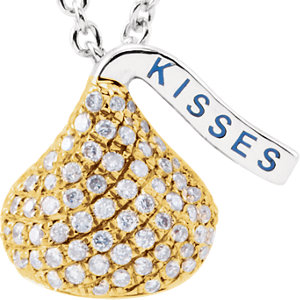 14kt Yellow HERSHEYS KISSES Flat Back 1/A ATW Diamond 1