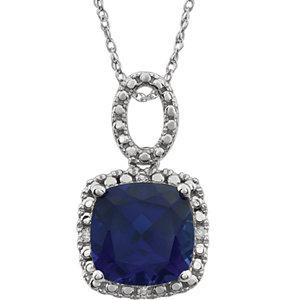 Gemstone & Diamond Halo-Styled Necklace