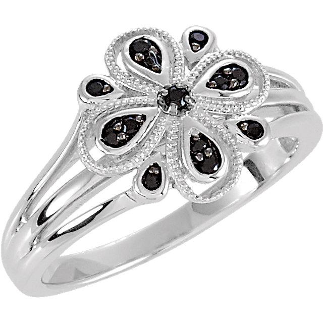 Floral-Inspired Black Spinel Ring with Split Shank