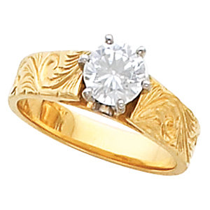 14kt Yellow Hand Engraved Band