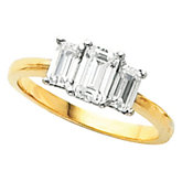 3-Stone Anniversary Ring Mounting for Emerald-Cut Gemstones