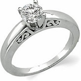 Scroll Cathedral Solitaire Engagement Ring