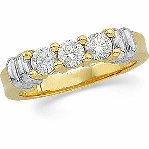 3/4 CTW Diamond Two-Tone 3-Stone Ring