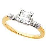 Engagement Ring or Band Mounting with Baguette Accents