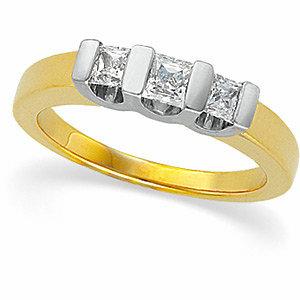5/8 CTW Princess-Cut Diamond Two-Tone 3-Stone Ring
