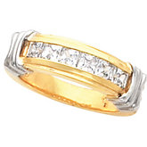 Princess-Cut Ladies or Gents Wedding Band Mounting