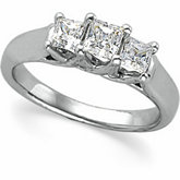3-Stone Anniversary Ring Mounting for Princess-Cut Gemstones