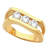 3-Stone Channel-Set Ring