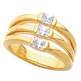 3-Stone Multi-Row Ring